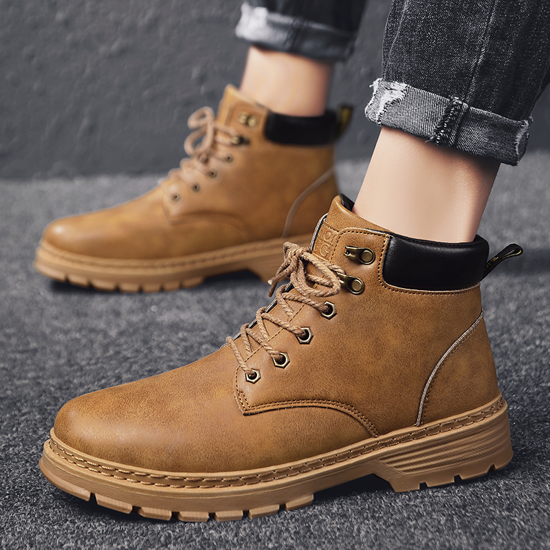 Autumn British mens boots trend versatile mens Martin boots high help tooling fashion shoes mid top casual mens shoes winter
