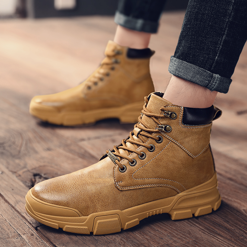 Fall 2019 new Martin boots, tooling shoes, high top boots, British fashion, versatile middle top mens shoes, desert boots