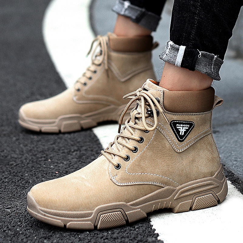 Autumn and winter Martin boots mens England versatile leather Plush mens boots fashion short boots tooling desert boots mens leisure