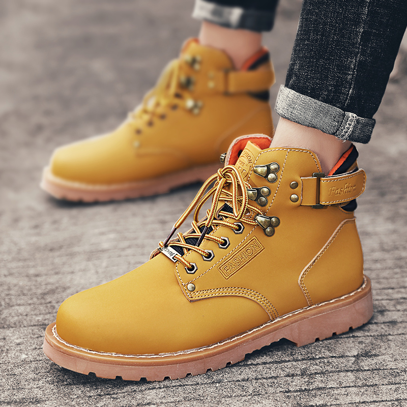 Leather Martin boots mens winter Zhongbang short boots versatile fashionable mens boots high top retro tooling desert boots snow boots