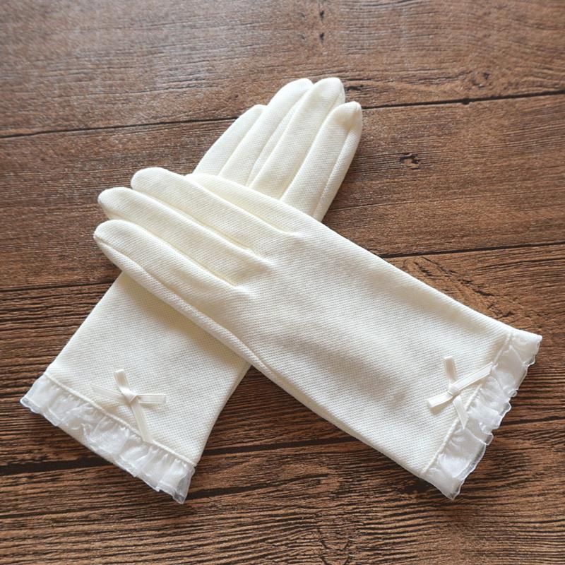 瑞迪卡歐春夏女士防曬防紫外線棉質透氣短款防滑開車薄款觸屏手套