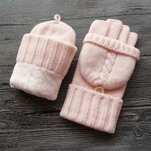 瑞迪卡欧秋冬羊毛毛线半指保暖手套