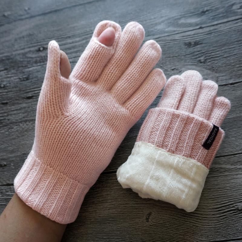 瑞迪卡欧秋冬女士羊毛毛线针织双层加绒加厚露指半指触屏保暖手套