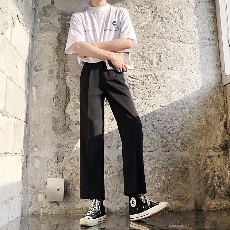 限10000张券夏季坠感垂感九分西裤男裤子百搭韩版ins 宽松直筒休闲阔腿西装裤