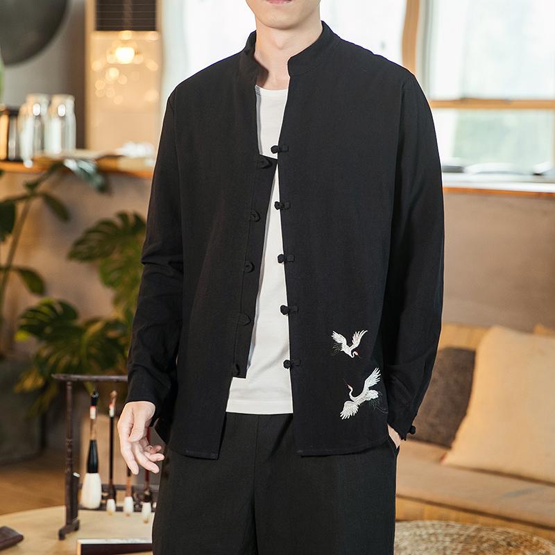 中国风男装刺绣长袖棉麻衬衣中式大码盘扣外套QT6005-C610-P65