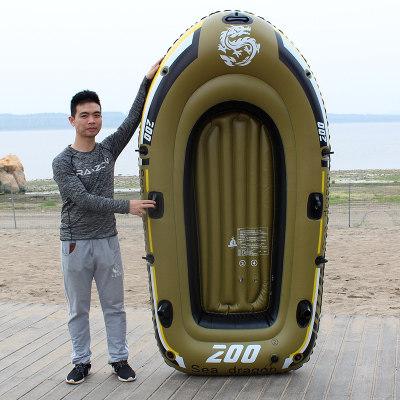 橡皮艇加厚钓鱼船双人电动皮划艇充气船木船2/3/4人漂流船冲锋舟