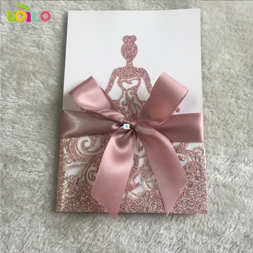 10pcs Wedding Invitation Card with customize ribbon,no图片