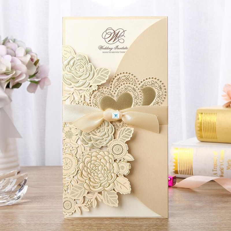 1pcs Love Heart Laser Cut Wedding Invitation Card Rose图片
