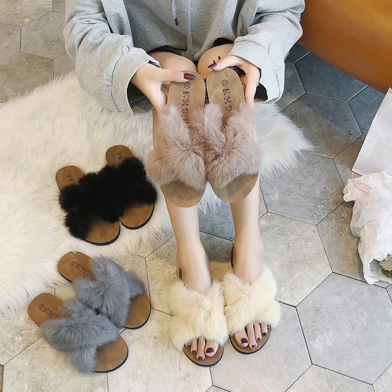 毛毛拖鞋女夏外穿2019新款春夏韩版网红时尚百搭兔毛鞋子一字拖图片
