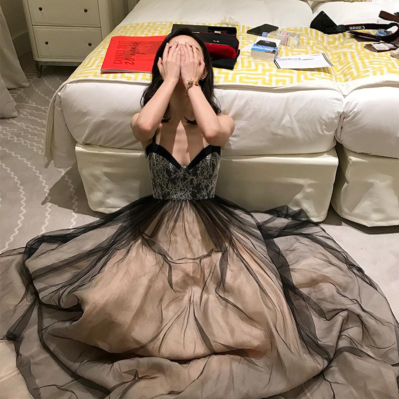 晚宴晚礼服裙2018新款端庄大气长款黑色宴会主持人女性感气质名媛
