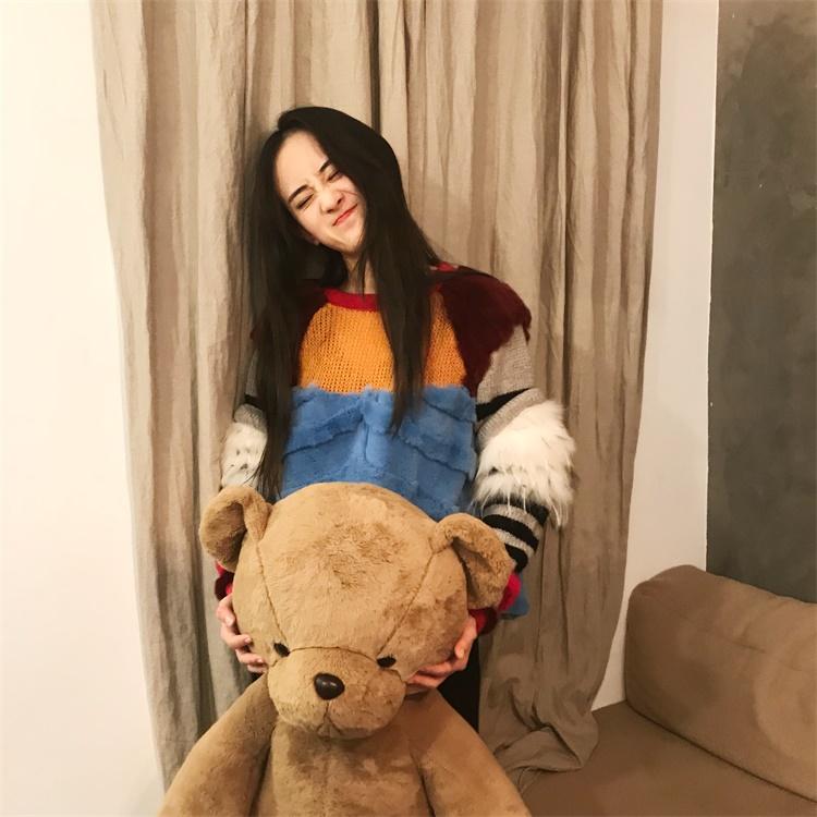 NG冬季新款网红毛衣女慵懒风 狐狸毛套头毛衣拼接短款撞色针织衫