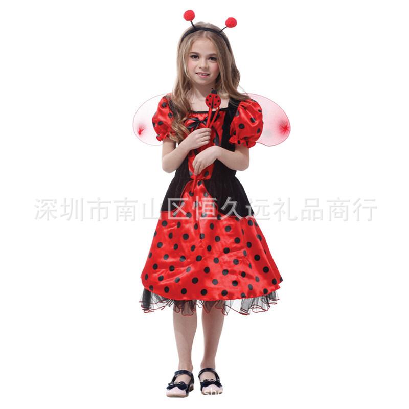 万圣节cosplay服装六一学校话剧七星瓢虫表演服儿童昆虫动物服
