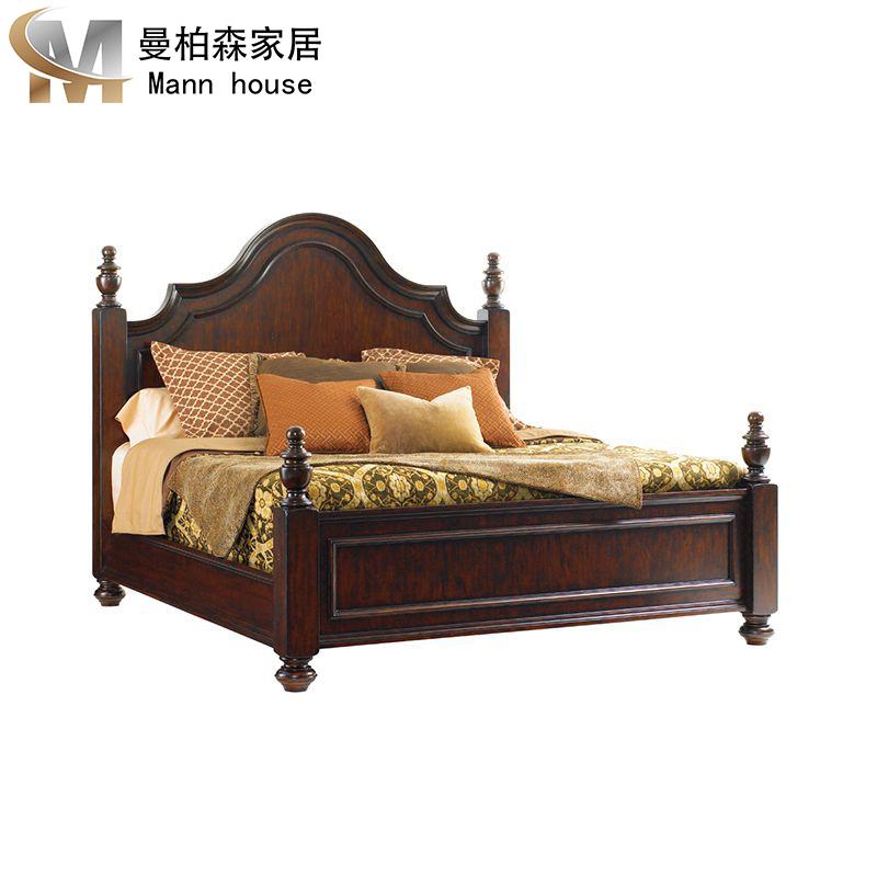 美式实木床古典架子床1.8米主卧婚床复古雕花柱子床莱克星顿定制,可领取元淘宝优惠券