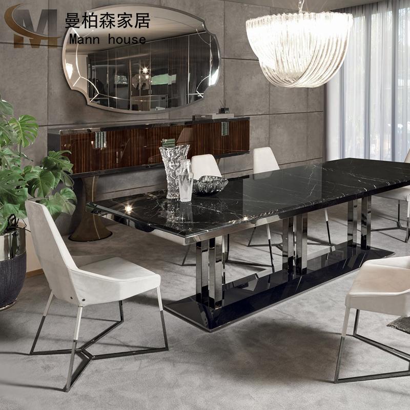 意大利Longhi款家具定制后现代简约轻奢港式金属大理石长方形餐桌