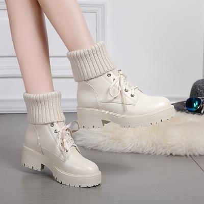 真皮毛线口短靴女秋冬英伦风厚底马丁靴欧洲站加绒棉鞋中筒袜子鞋