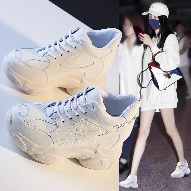 内增高女鞋2019春季新款网红厚底百搭休闲运动老爹鞋小白鞋女10cm
