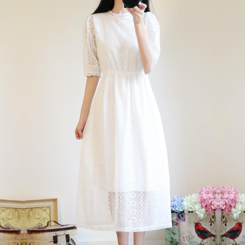 很仙的气质仙女长裙收腰学生森系白色蕾丝仙气连衣裙女夏2019新款满40.00元可用0.4元优惠券