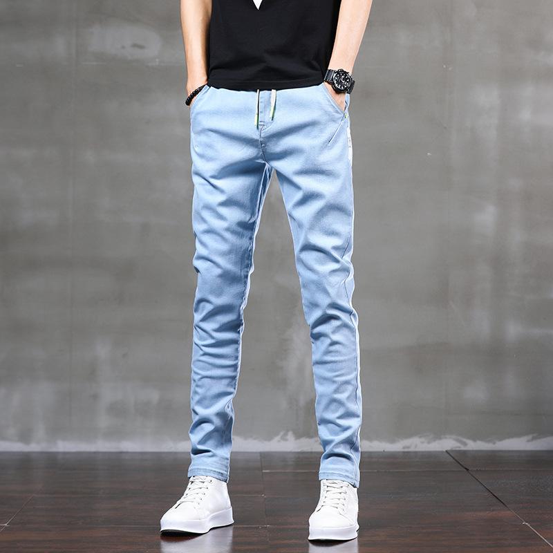 [brand authorization] spring and summer 2021 new mens jeans Korean version elastic elastic waist tether slim fit feet