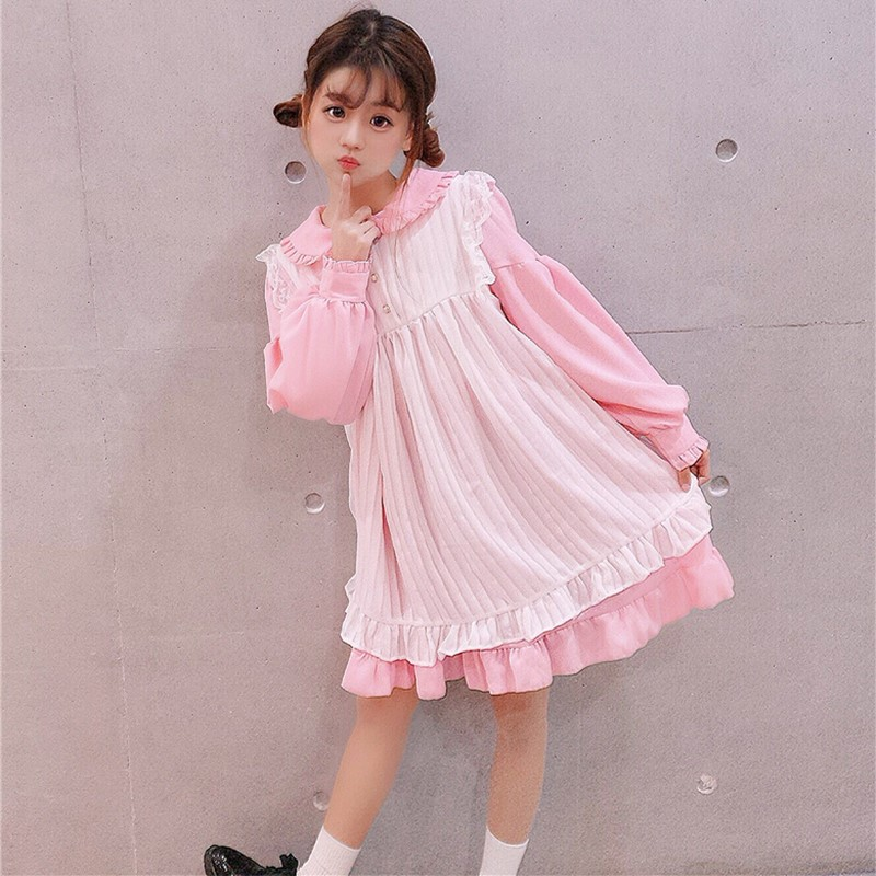 Japanese soft girl Lolita daily cute baby collar dress with cover up