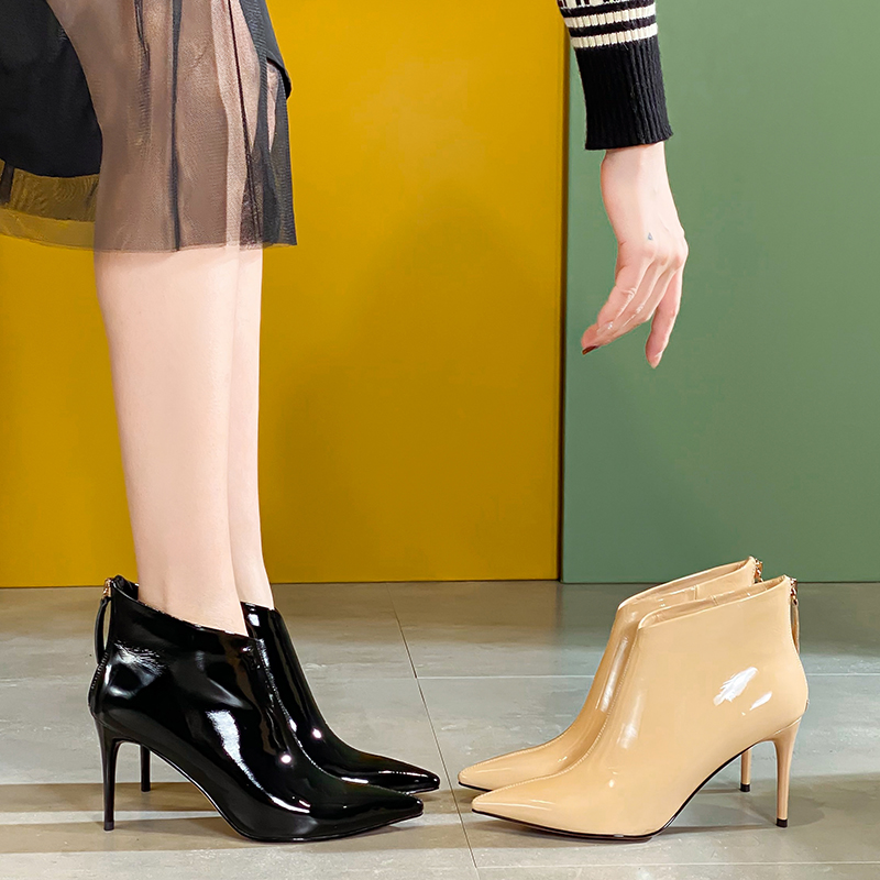 Short leather stiletto heels spring and autumn 2020 new back zipper patent leather black pointed versatile sexy boots