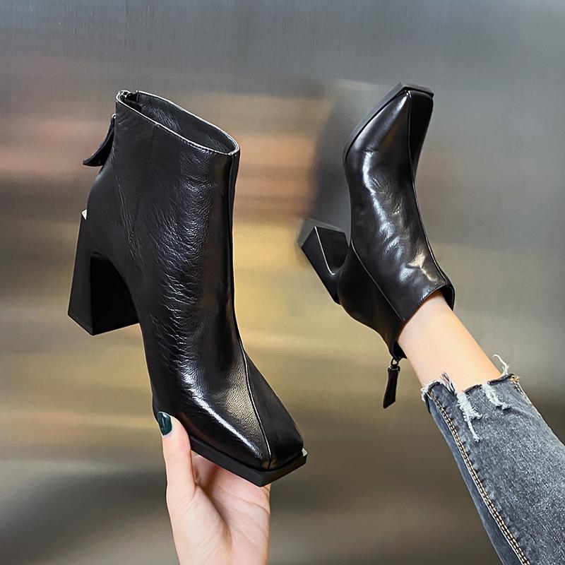 2020秋冬新款欧美方头粗跟中跟短靴真皮短筒裸靴牛皮后拉链高跟鞋