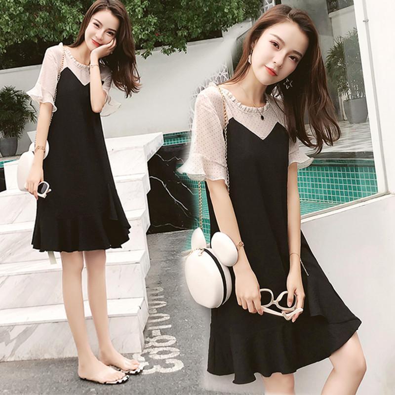 雪纺鱼尾连衣裙女新款2020夏季韩版遮肚藏肉中长款荷叶边黑色裙子图片