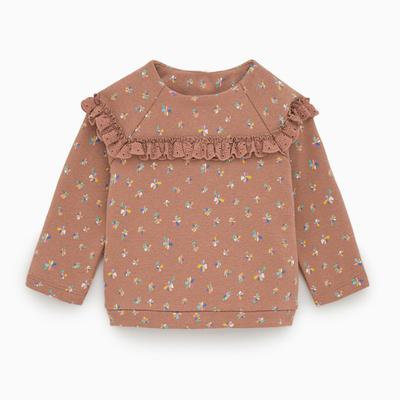 女童碎花蕾丝套头衫宝宝长袖卫衣中小童秋装新款婴幼儿打底体恤衫