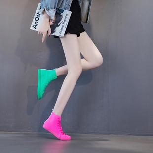 2021新款春夏鸳鸯鞋荧光绿糖果高帮弹力布平底网红休闲潮帆布鞋女