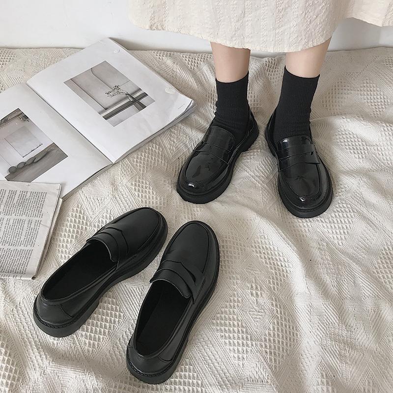 黑色软妹小皮鞋女英伦风平底2021春夏季新款复古日系jk制服单鞋潮