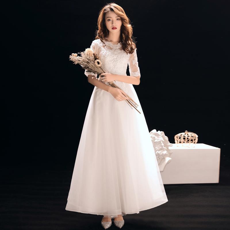白色晚礼服女2021新款中袖宴会名媛气质长款伴娘礼服主持人连衣裙