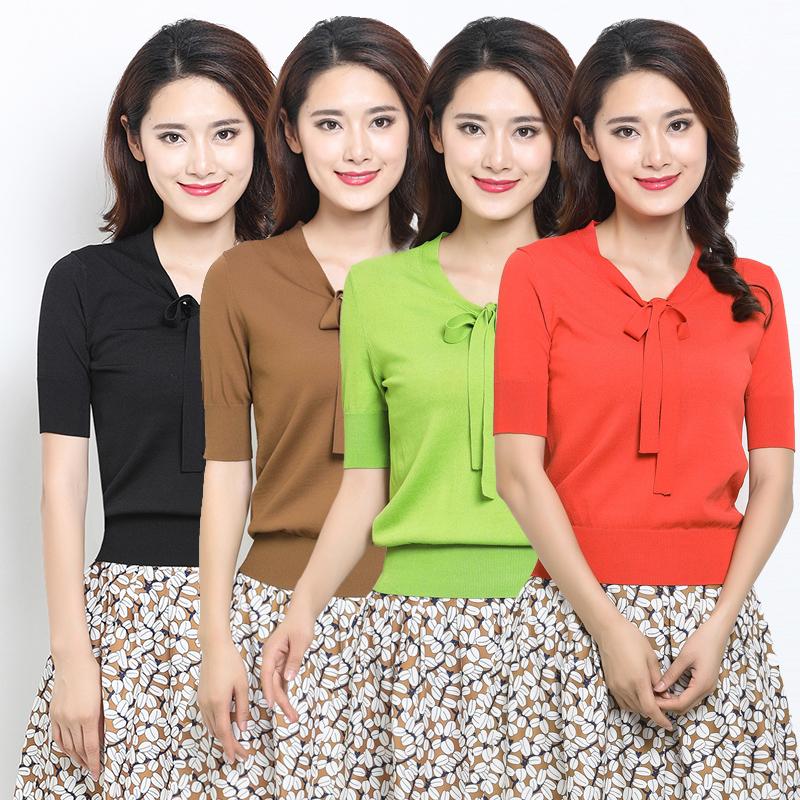 新颖哥弟特女装2018新款针织系带短袖t恤小衫1399003-1t00835-006