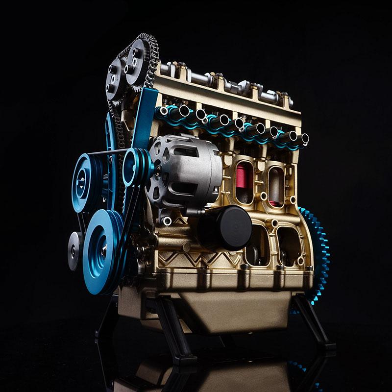 土星文化工匠师直列四缸汽车迷你发动机模型金属拼装成人益智玩具