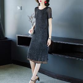 台湾遮肚连衣裙女气质妈妈洋气矮个子长裙子肥mm显瘦夏季2020新款