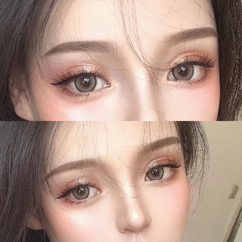 水星棕美瞳年抛女学生自然大小直径14.0润瞳隐形混血欧美灰色日抛图片