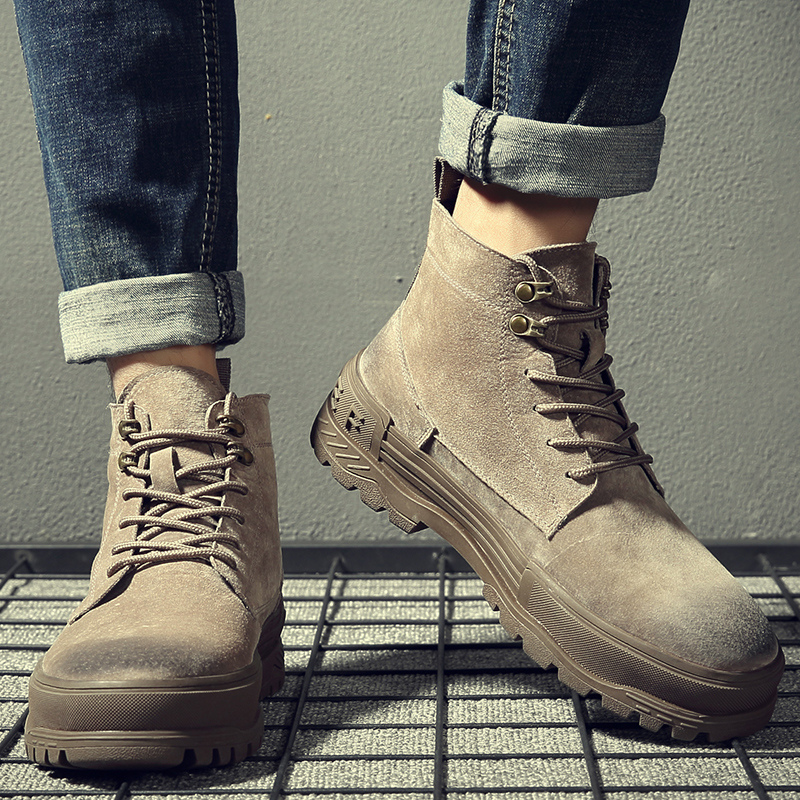 2021 new leather Martin boots mens high top British style versatile autumn and winter tooling shoes boots wolf Boots Men