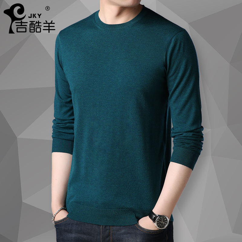 Men's T-shirt with long sleeves and round collar with wool youth thin knitted sweater