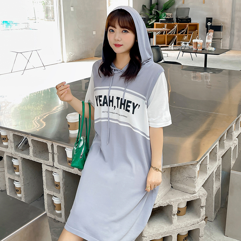 Large color matching dress fat sister summer cover belly lazy skirt T-shirt skirt casual European and American BF style baseball skirt