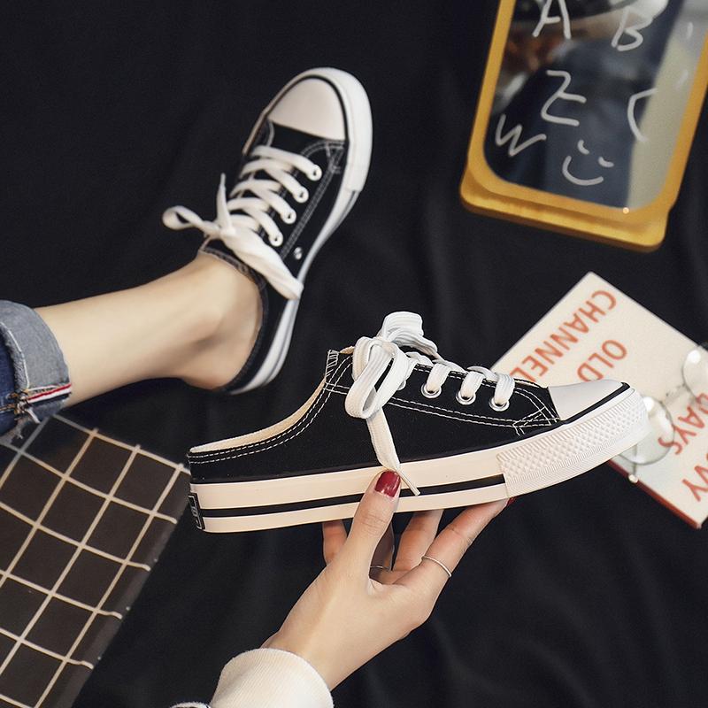 网红夏款半托小白鞋子女2019潮鞋夏季新款帆布鞋半拖女鞋学生韩版