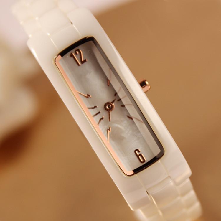 正品包邮白色真陶瓷方形贝壳面手表