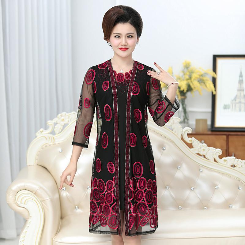 中年女时髦套装连衣裙夏装秋装高贵端庄妈妈装加肥加大两件套裙子