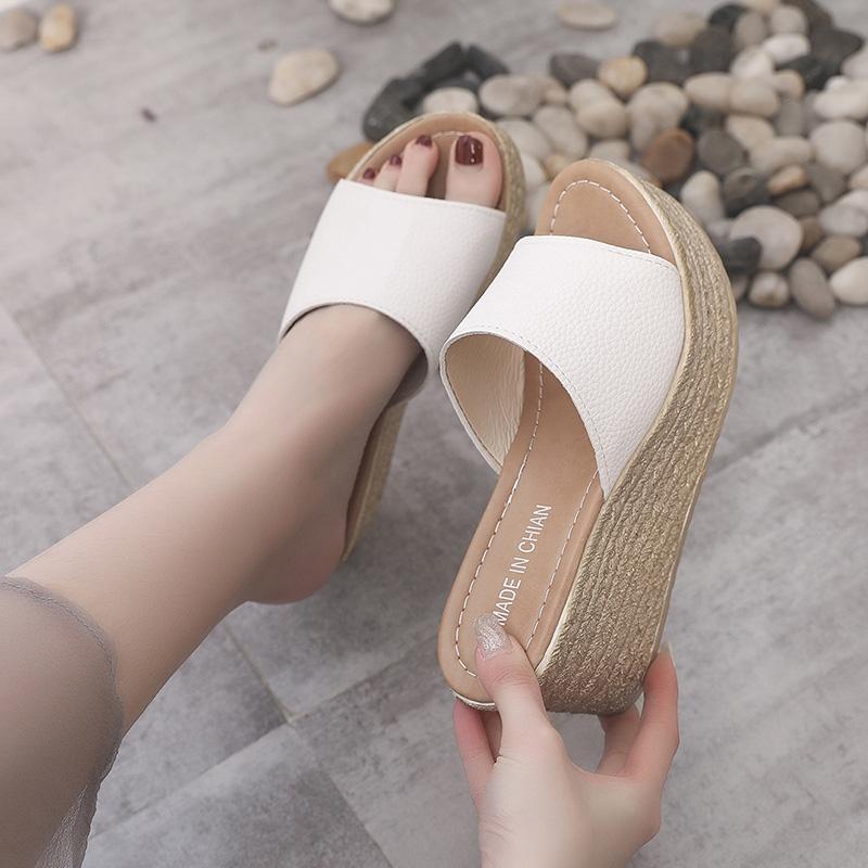 坡跟拖鞋女夏松糕厚底凉拖百搭海边沙滩鞋时尚高跟外穿家用一字拖