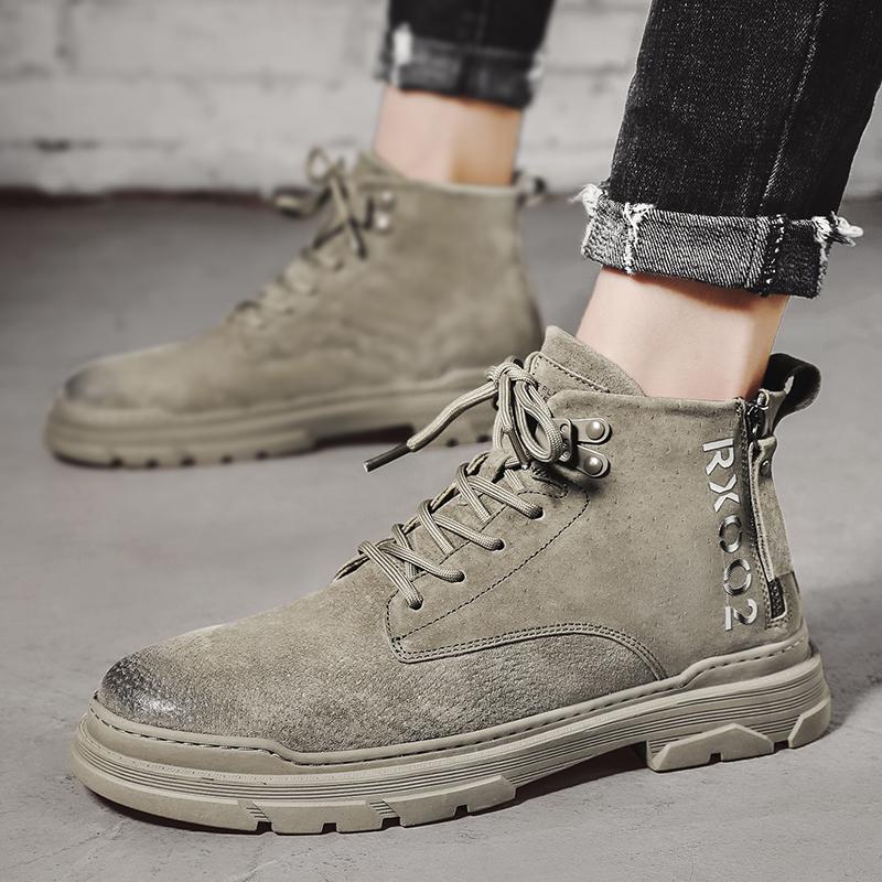 秋季潮搭马丁靴男中帮英伦风工装靴高帮作战沙漠靴韩版潮流男鞋