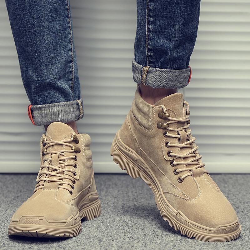 马丁靴男秋季英伦风中帮工装靴潮流靴子男短靴军靴雪地靴高帮鞋子