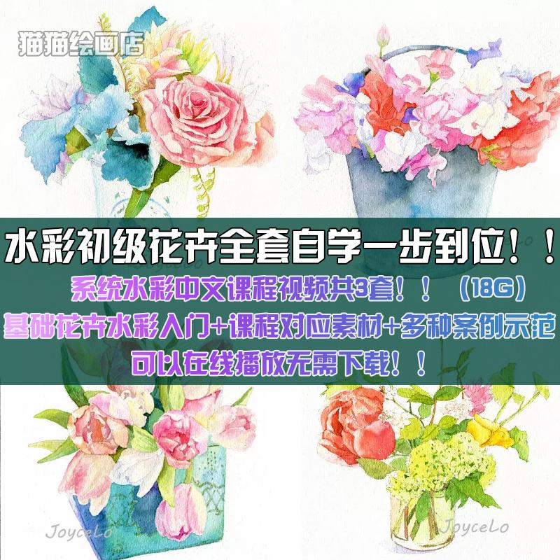 零基础水彩花卉朵绘画高清视频教程静物技法自学手绘入门教学课程