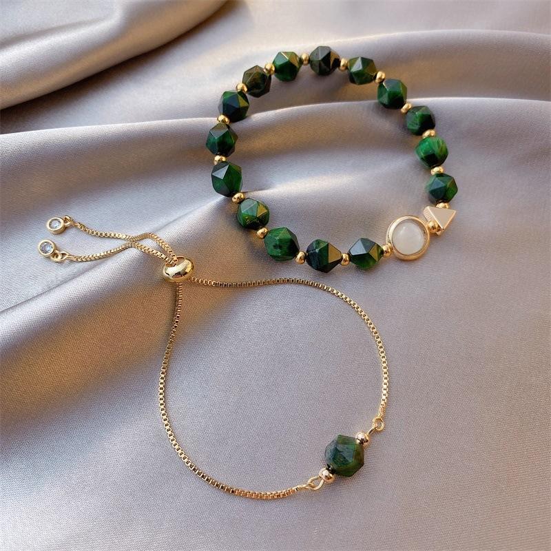 绿宝石手链ins小众设计轻奢韩版简约个性两件套冷淡风手串女森系