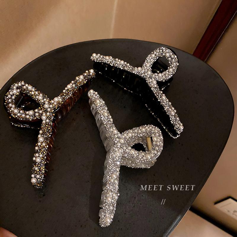 发卡夹子韩国发饰珍珠带钻鲨鱼夹固定头发简约气质抓夹后脑勺发夹