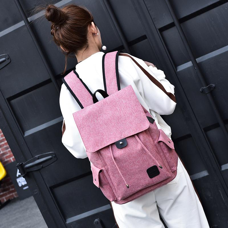 双肩包男女通用usb充电背包校园风时尚百搭大容量抽带大学生书包