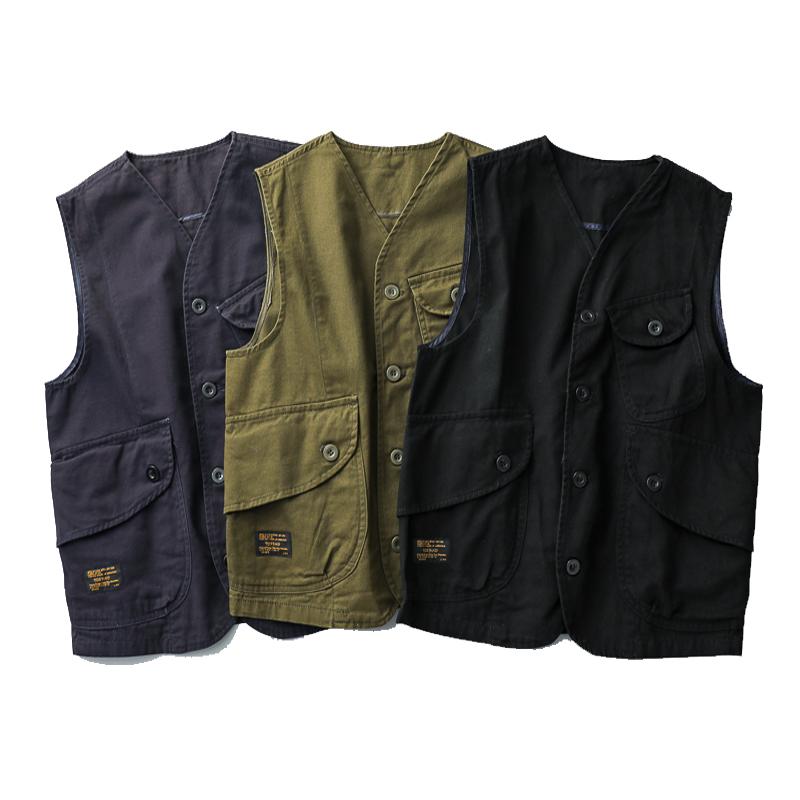 美式潮流多口袋工装马甲男阿美咔叽短款日系复古休闲背心外套上衣