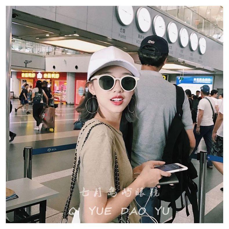 2020 new net Red Sunglasses Fashion Girl face retro round small frame Beige Polarized Sunglasses Street Photos ins