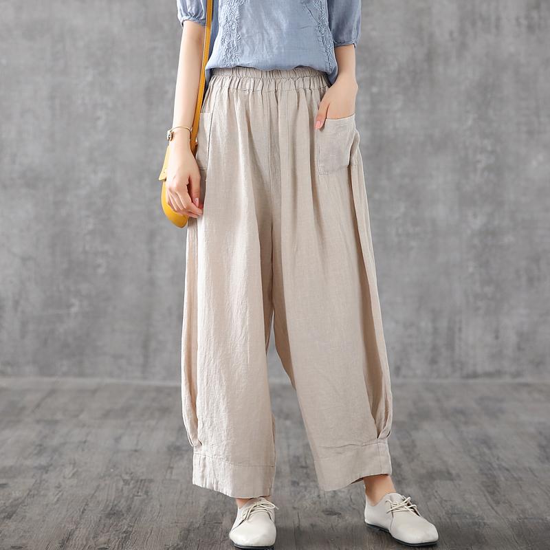 (用20元券)dza秋季新款棉麻裤子女亚麻休闲裤